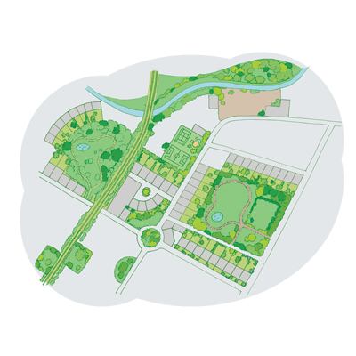 Diagram of green corridors
