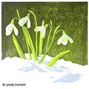Snowdrops linocut print