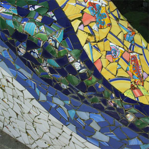Detail of mosaic fish pond
