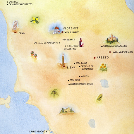 watercolour map of Tuscany