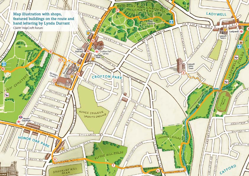 Brockley map closeup