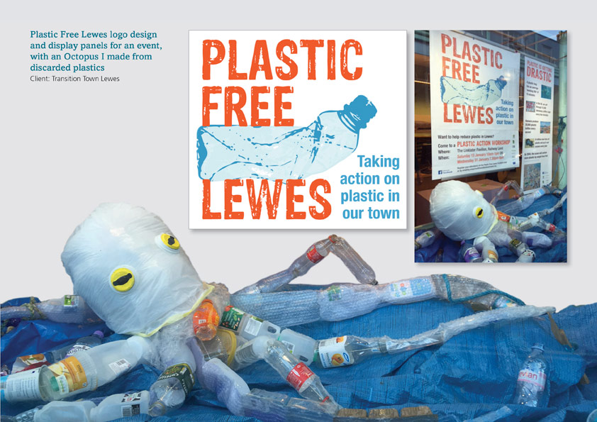 Plastic Free Lewes logo and display