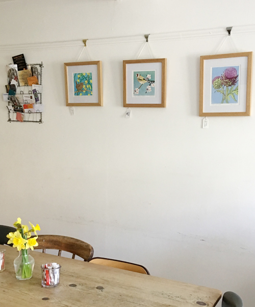 Linocuts at Lewes Patisserie